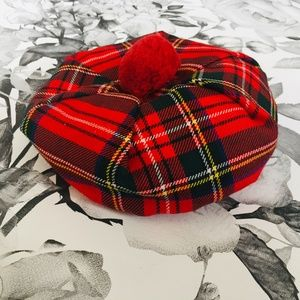 Other - Red Plaid Beret w/Pom Pom